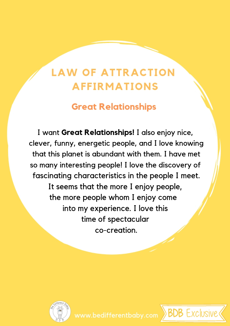 Law Of Attraction Affirmations Be Different Baby